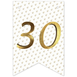 30th Birthday Wedding Anniversary Gold Number Bunting