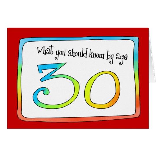 30th Birthday Words of Wisdom Card
