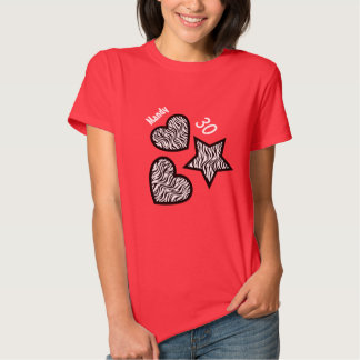 30th Birthday Zebra Star Hearts A08 RED Tees