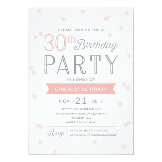 30th Confetti Party Invitation | Birthday