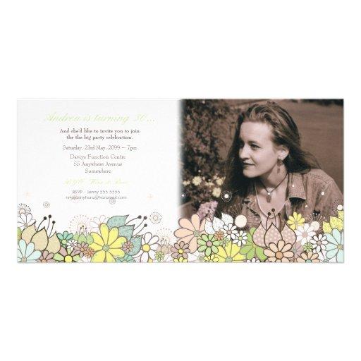 30th Flowers Birthday Party Photo Card Invitation