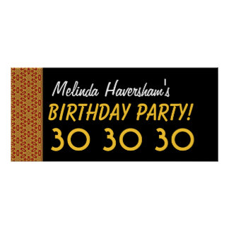 30th Gold and Black Birthday Collection Poster