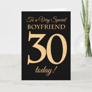 30th Gold Effect On Black For Boyfriend Birthday Card