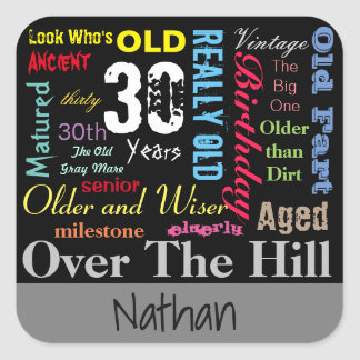 30th Happy Birthday | Milestone Square Sticker