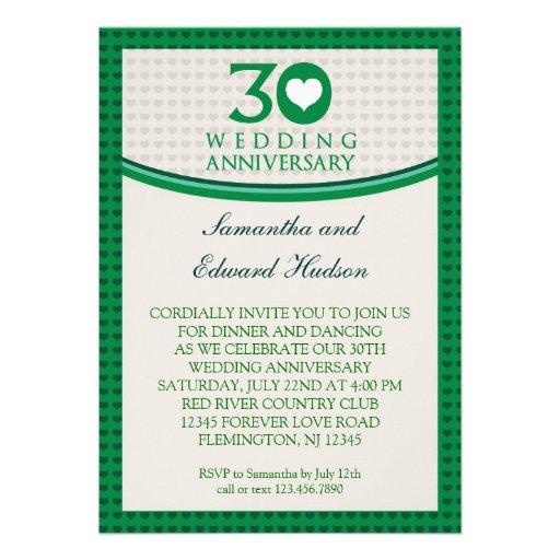 30th Wedding Anniversary Invitations: 30th Heart Wedding Anniversary Invitation 13 Cm X 18 Cm