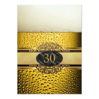 30th Mans Beer Black Gold Birthday Party 11 Cm X 16 Cm Invitation Card