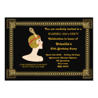 30th or any,Birthday Party,Gatsby chic,black gold 13 Cm X 18 Cm Invitation Card