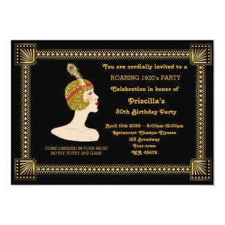 30th or any,Birthday Party,Gatsby chic,black gold 13 Cm X 18 Cm Invitation Card