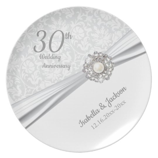 30th Pearl Jewel Wedding Anniversary Keepsake Plate