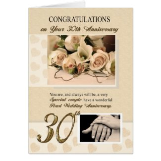 30th Pearl Wedding Anniversary Card