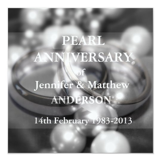 30th Pearl Wedding Anniversary Celebaration(B&W) Card