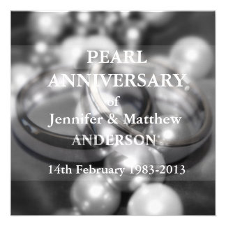 30th Pearl Wedding Anniversary Celebaration B W Invitation