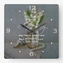30th Pearl Wedding Anniversary Commemorative Square Wall Clock