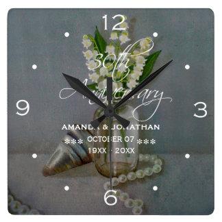30th Pearl Wedding Anniversary Commemorative Square Wall Clock