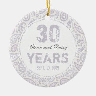 30th Pearl Wedding Anniversary Paisley Monogram Round Ceramic Decoration