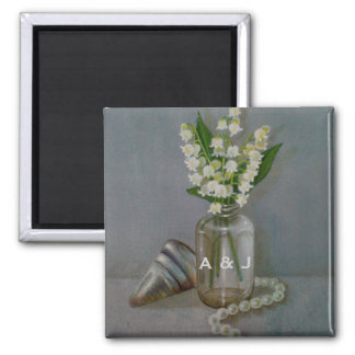30th Pearl Wedding Anniversary Personalized Square Magnet
