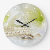 30th Pearl Wedding Anniversary St.Joseph Lily Large Clock
