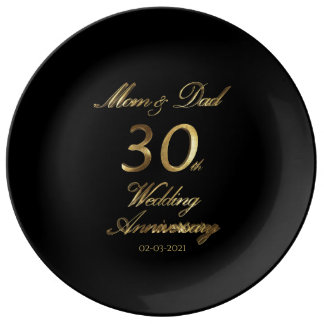 30th Pearl Wedding Anniversary Typography Elegant Plate
