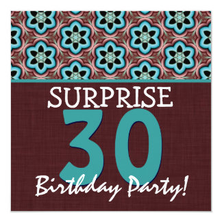 30th Surprise Birthday Aqua and Chocolate V2 Card