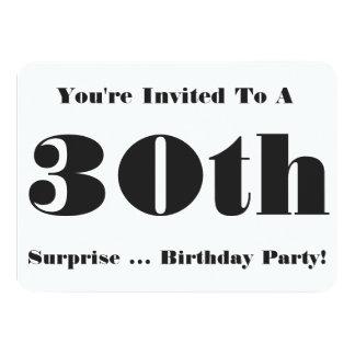 30th Surprise Birthday party Invite, black & white