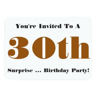 30th Surprise Birthday party Invite, gold, white