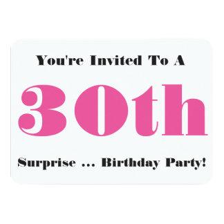30th Surprise Birthday party Invite, pink, white 11 Cm X 16 Cm Invitation Card