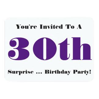 30th Surprise Birthday party Invite, purple, white 11 Cm X 16 Cm Invitation Card