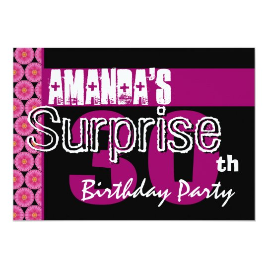 30th Surprise Birthday Party Pink Pattern Template Card