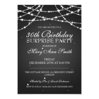 30th Surprise Birthday Party String Stars Black 13 Cm X 18 Cm Invitation Card