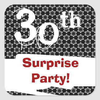 30th SURPRISE Birthday Red White Black W1979 Square Sticker