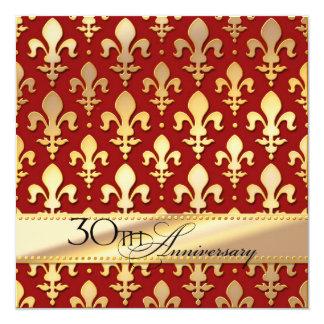 """30th, Thirtieth Wedding Anniversary, Fleur de Lis 5.25"""" Square Invitation Card"""