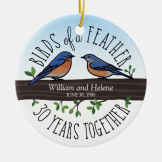 30th Wedding Anniversary, Bluebirds of a Feather Christmas Ornament