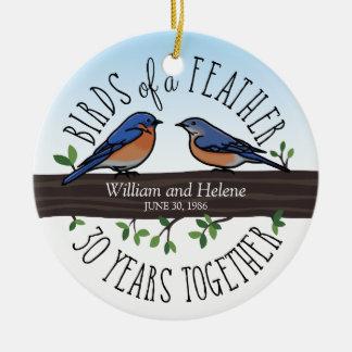 30th Wedding Anniversary, Bluebirds of a Feather Round Ceramic Decoration