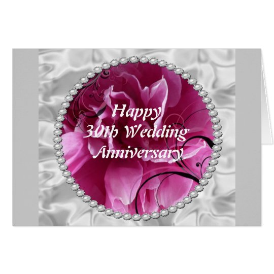 30th Wedding Anniversary Card, Pearls & Pink Flora
