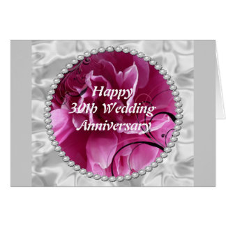 30th Wedding Anniversary Card, Pearls & Pink Flora Greeting Card