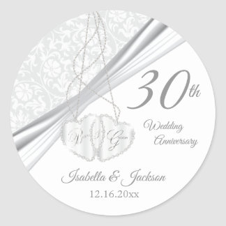 30th Wedding Anniversary Design Classic Round Sticker