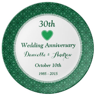 30th Wedding Anniversary Green Pattern V10E Plate