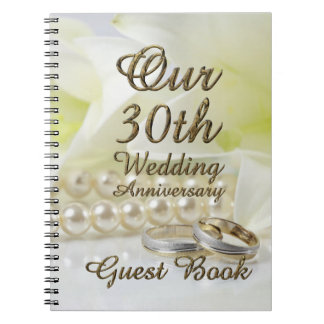 30th Wedding Anniversary Guest Book Gold Pearls Note Books