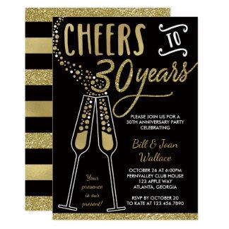 30th Wedding Anniversary Invitation, Faux Glitter Card