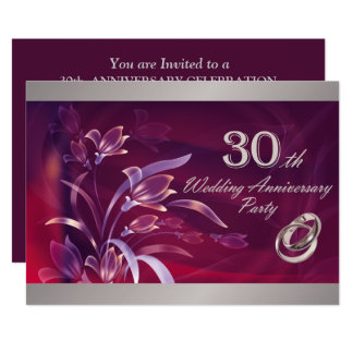 30th Wedding Anniversary Party Invitations