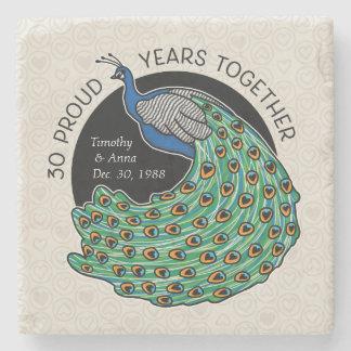 30th Wedding Anniversary, Peacock and Hearts Stone Coaster