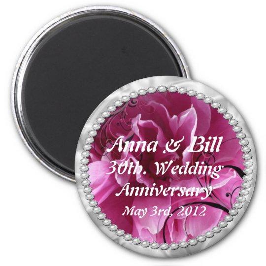 30th, wedding anniversary Pearls & Pink Floral Swi