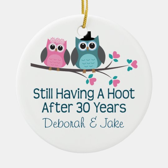 30th Wedding Anniversary Personalised Gift Idea Round Ceramic