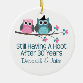 30th Wedding Anniversary Personalized Gift Idea Round Ceramic Decoration