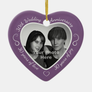 30th Wedding Anniversary Photo Christmas Ornament