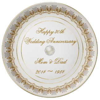 30th Wedding Anniversary Porcelain Plate