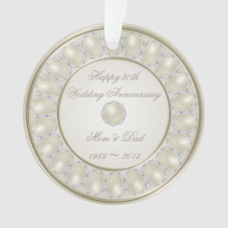 30th Wedding Anniversary Round Acrylic Ornament