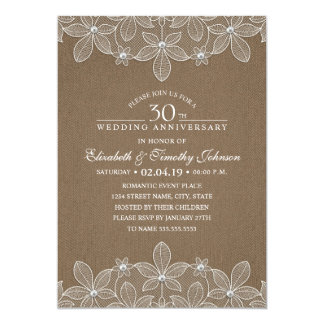 30th Wedding Anniversary Rustic Dark Burlap Lace Card