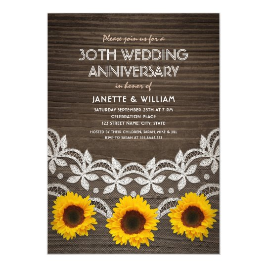 30th Wedding Anniversary Rustic Sunflowers Lace Card