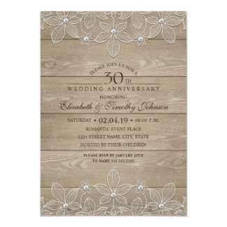 30th Wedding Anniversary Rustic Wood Vintage Lace Card
